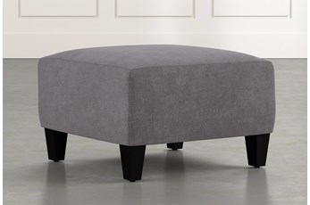 Perch Dark Grey Fabric Small Square Ottoman