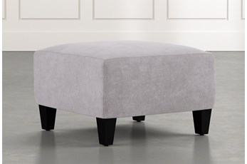 Perch Light Grey Fabric Small Square Ottoman
