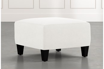 Perch White Fabric Small Square Ottoman