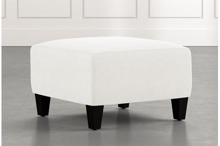 Perch White Fabric Small Square Ottoman