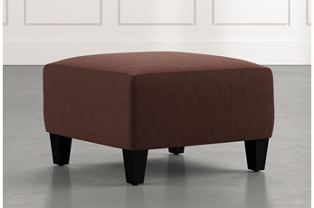 Perch Brown Fabric Small Square Ottoman