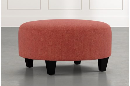 Perch Red Fabric Medium Round Ottoman