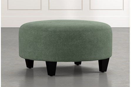 Perch Green Fabric Medium Round Ottoman