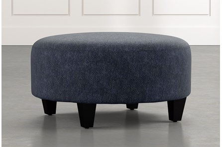 Perch Navy Blue Fabric Medium Round Ottoman