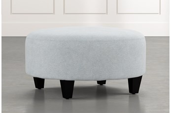 Perch Light Blue Fabric Medium Round Ottoman