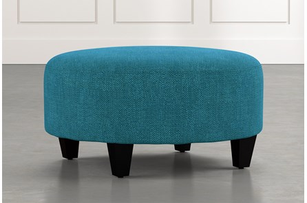 Perch Teal Fabric Medium Round Ottoman