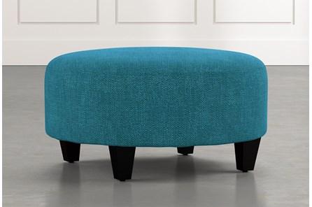 Perch Teal Fabric Medium Round Ottoman