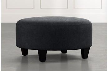 Perch Black Fabric Medium Round Ottoman