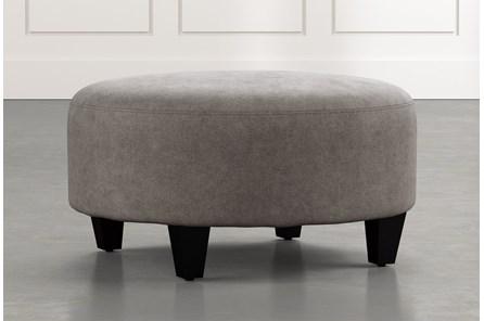 Perch Dark Grey Fabric Medium Round Ottoman