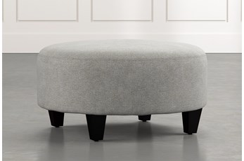 Perch Light Grey Fabric Medium Round Ottoman