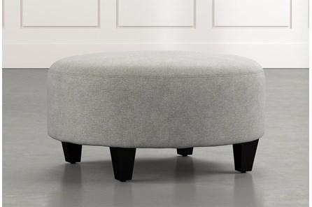 Perch Light Grey Fabric Medium Round Ottoman