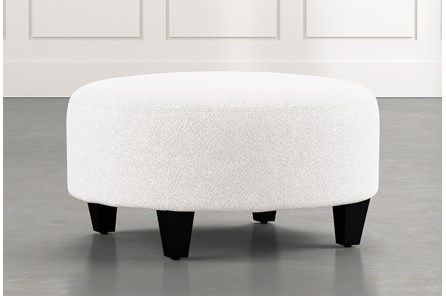 Perch White Fabric Medium Round Ottoman