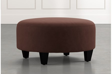 Perch Brown Fabric Medium Round Ottoman