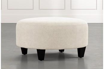 Perch Beige Fabric Medium Round Ottoman