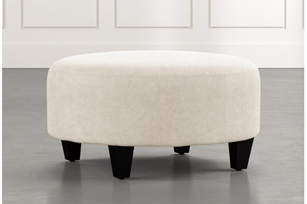 Perch Beige Fabric Medium Round Ottoman