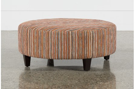 Perch Fabric Large Round Ottoman - Main