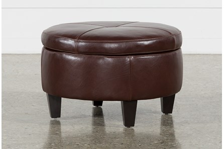 Perch Leather Small Round Storage Ottoman