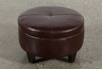 Pleasing Perch Leather Small Round Storage Ottoman Alphanode Cool Chair Designs And Ideas Alphanodeonline
