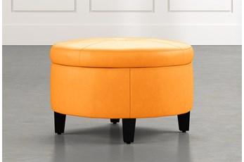 Perch Orange Leather Small Round Storage Ottoman