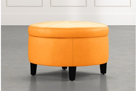 Perch Orange Leather Small Round Storage Ottoman