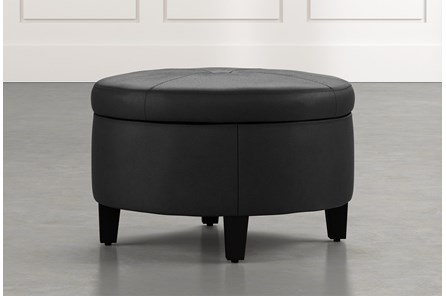 Perch Black Leather Small Round Storage Ottoman