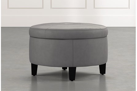 Perch Dark Grey Leather Small Round Storage Ottoman