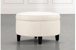 Perch White Leather Small Round Storage Ottoman