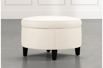 Perch White Leather Small Round Storage Ottoman