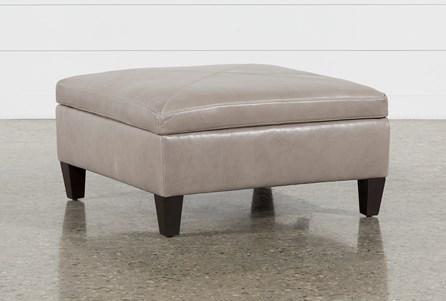 Perch Leather Medium Square Storage Ottoman