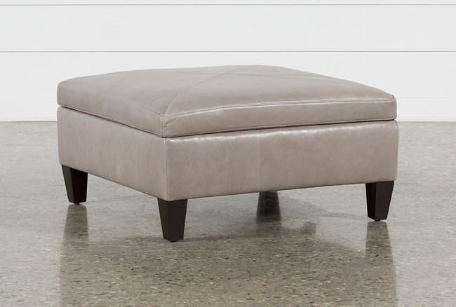 Perch Leather Medium Square Storage Ottoman - 360