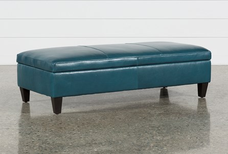 Perch Leather Large Rectangle Storage Ottoman
