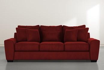 """Parker II 101"""" Burgundy Velvet Sofa"""
