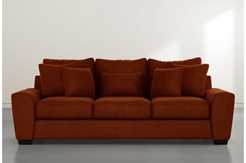 Parker II Orange Velvet Sofa