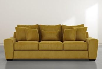 """Parker II 101"""" Gold Velvet Sofa"""