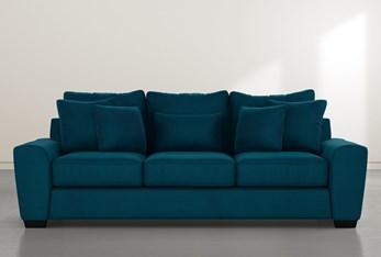 """Parker II 101"""" Teal Blue Velvet Sofa"""