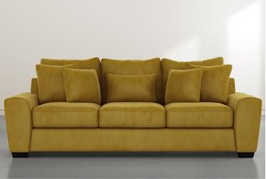 """Parker II Yellow Velvet 101"""" Sofa"""