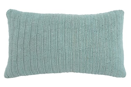 Accent Pillow-Knit Solid Aqua 14X26