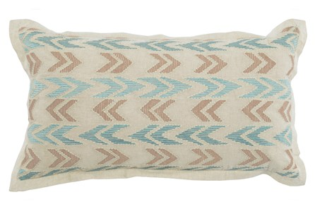 Accent Pillow-Aqua And Taupe Arrows 14X26