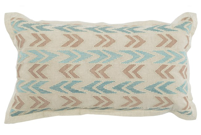Accent Pillow-Aqua And Taupe Arrows 14X26 - 360