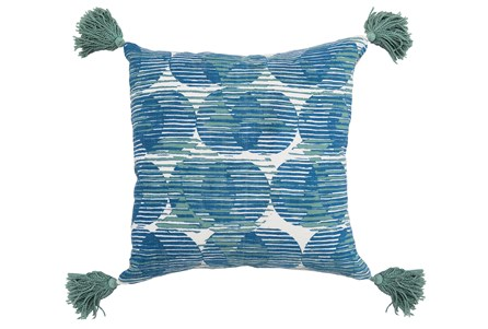 Accent Pillow-Blue Circle Tassles 20X20