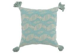 Accent Pillow-Aqua Circle Tassles 22X22