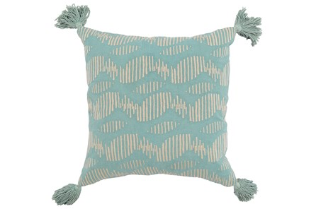 Accent Pillow-Aqua Circle Tassles 22X22