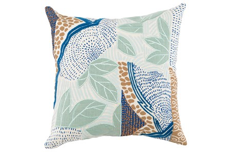 Accent Pillow-Blue And Aqua Leaves 20X20