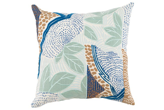 Accent Pillow-Blue And Aqua Leaves 20X20 - 360