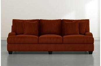 Sierra Foam III Orange Velvet Sofa