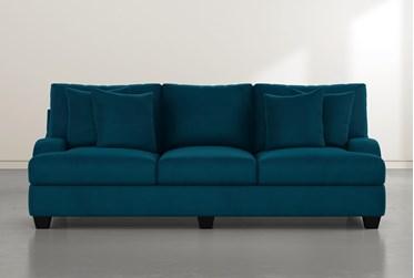 Sierra Foam III Teal Blue Velvet Sofa
