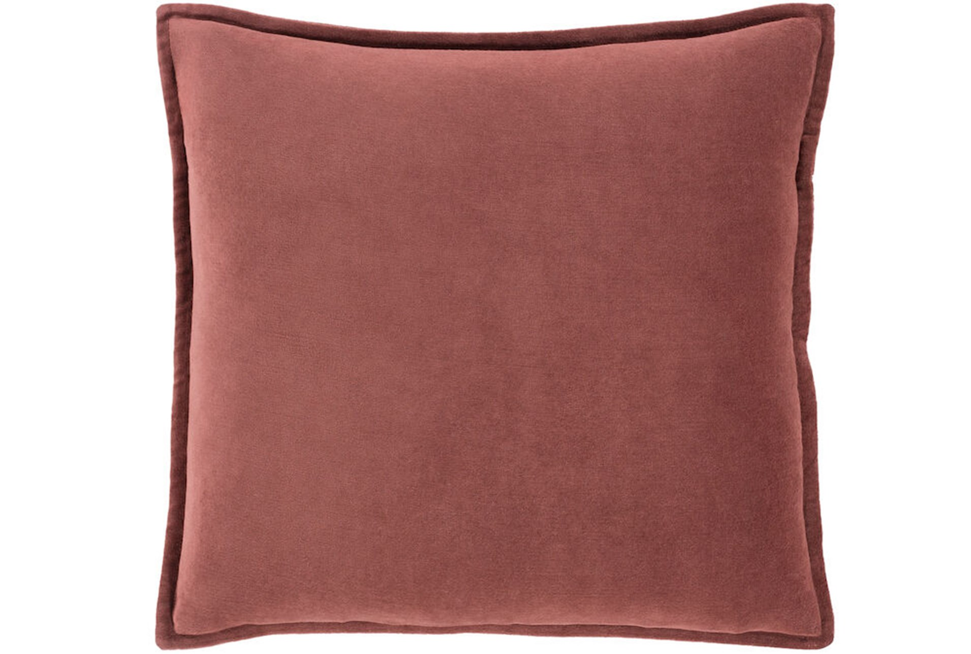 Wine Red Velvet Flanged Throw Pillow Cushion Covers 18x18 Set of 2