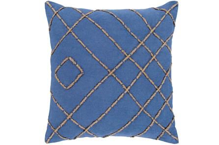 Accent Pillow-Natural Jute Diamonds On Blue 18X18