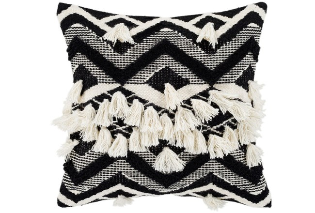 Accent Pillow-Black And Ivory Diamond Tassles 18X18 - 360
