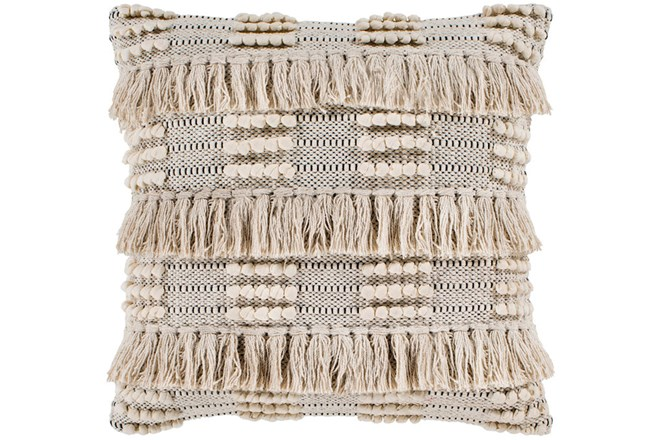 Accent Pillow-Taupe Fringe Checks 18X18 - 360